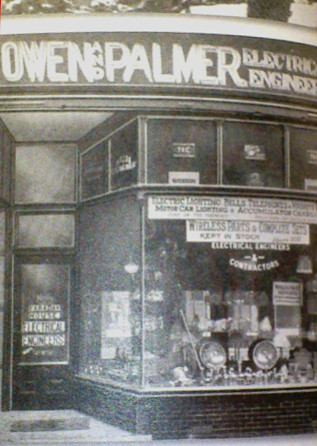 Owen & Palmer Electrical Contractors Shop Front on Bangor High Street.  Black and White